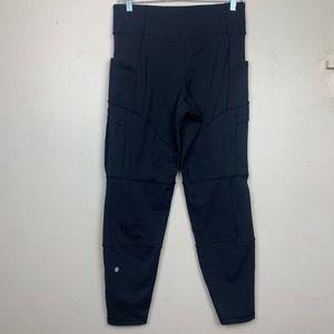 Lululemon Black Leggings Cargo Pants Zipper Size 6